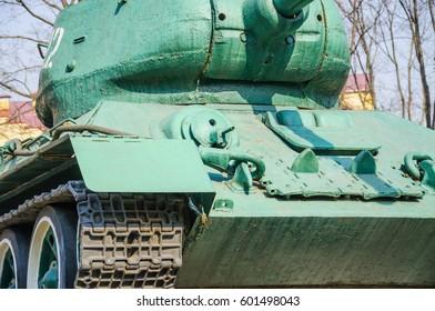 A fragment of a legendary Soviet medium tank T-34-85