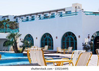 fragment like view of nice tropical hotel with pool