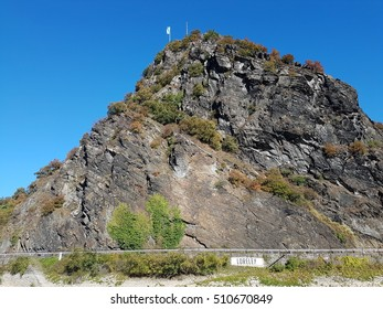 Fragment of the Lorelei rock (German Loreley 132 m) is a 433 ft high steep slate rock on the right bank of the River Rhine in the Rhine Gorge (or Middle Rhine) at Sankt Goarshausen in Germany.