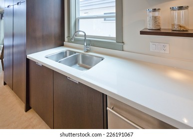 Fragment of the luxury modern kitchen with counter and sink. Interior design.