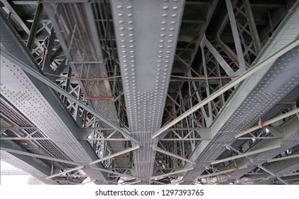 Fragment of the metal structure of the bridge.