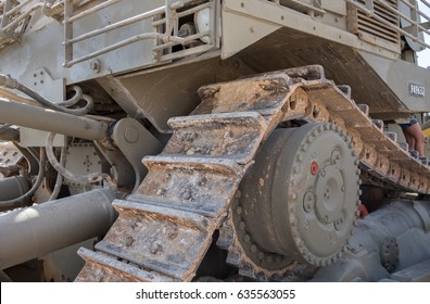 Fragment of miltary bulldozer presented at Latrun Armored Corps Museum