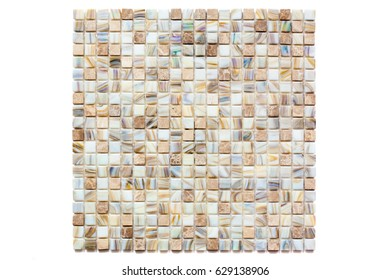 Fragment of a mosaic of small shiny tiles on white background