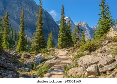 Fragment of mountain trail in Rocky Mountains, Canada.