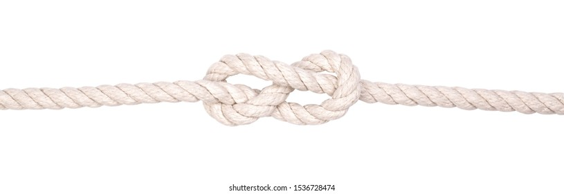 Fragment of a nautical rope with a knot closeup Isolated on a white background