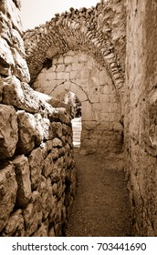 Fragment of the Nimrod Fortress,  a medieval fortress in the northern Israel. Sepia
