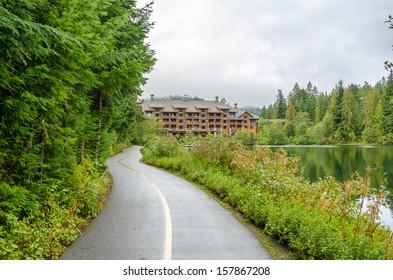 Fragment of Nita Lake Trail in Whistler, Vancouver, Canada.
