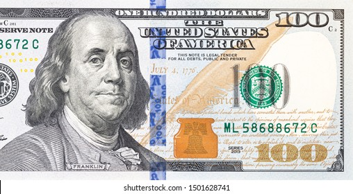 fragment of old 100 dollar bill