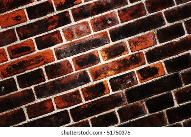 Fragment of an old and dirty brick wall