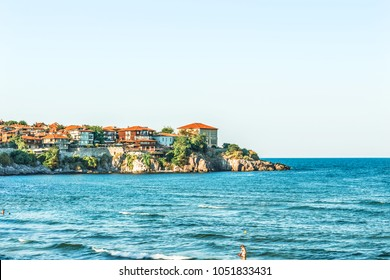 Fragment of the old town of Sozopol, Bulgaria. View of the bay on the Black Sea in the town.
