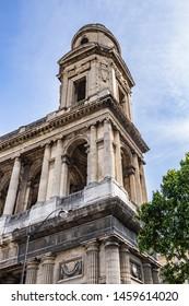Fragment of Paris Saint-Sulpice church (Eglise Saint-Sulpice, 1754). Saint-Sulpice church is one of the biggest churches in Paris. Saint-Germain-des-Pres district, Place Saint-Sulpice, Paris, France.
