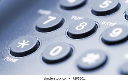 Fragment of phone closeup blue tone