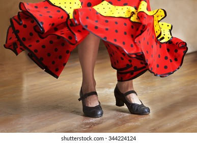 Fragment photo of flamenco dancer, only legs cropped, Legs fragment photo of spanish flamenco dancer