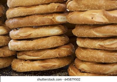 Fragment photo offers and tasty maltese bread, fresh bread. Fresh tasty healthy food, bread in street market