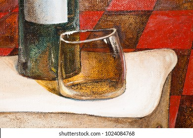 Fragment of the picture with a bottle