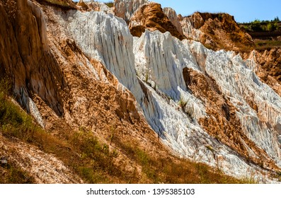 a fragment of a quarry of kaolin mining with beautiful slopes, Vetovo village area, Bulgaria