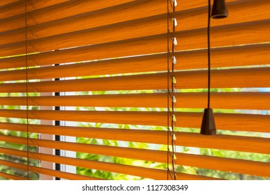 Fragment of the red brown Venetian blinds on a window and blurred view of the autumn trees across slats of a window blind