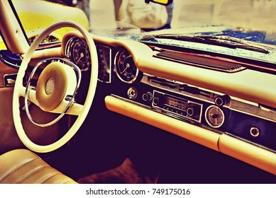 Fragment retro car dashboard. vintage style