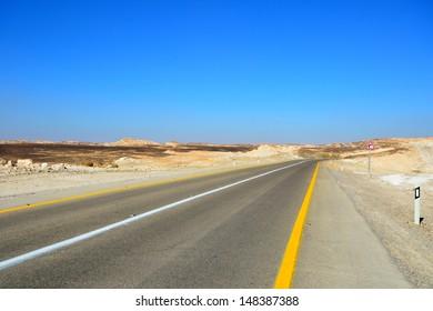 Fragment of road in the desert.