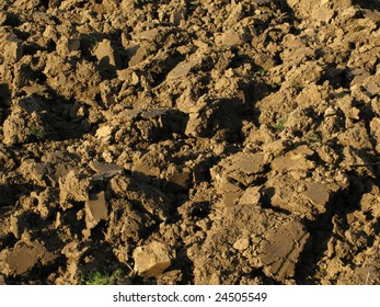 Fragment of rustic arable land surface