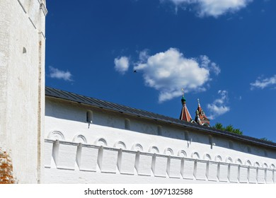 Fragment of Savvino-Storozhevski monastery wall, located in Zvenigorod, an old town in Moscow region, Russia