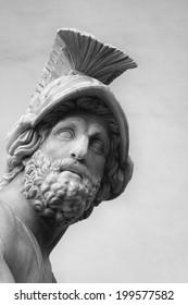 """Fragment of sculpture """"Menelaus supporting the body of Patroclus"""". The ancient Roman sculpture. Loggia dei Lanzi, Piazza della Signoria. Florence, Italy"""