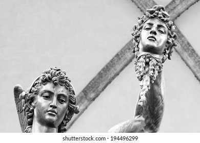 """fragment of sculpture """"Perseus with the Head of Medusa"""" Florence, Italy"""