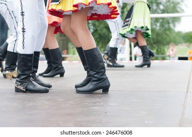Fragment of Slovak folk dance with colorful clothes in Folk Festival