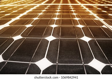 Fragment of the solar battery. Solar battery elements close up