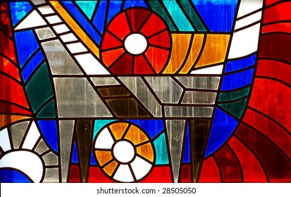 Fragment of stained-glass window. Animal ornamental pattern.
