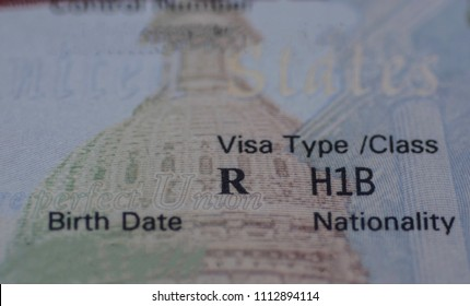 Fragment of Stamp H1B USA Worker Visa.