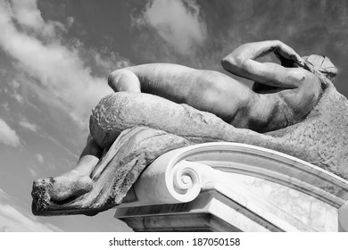 fragment of the statue of David on the square Michelangelo. Florence, Italy