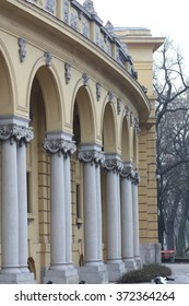 Fragment of Szechenyi thermal bath, the largest one in Europe, on winter hazy day. Budapest, Hungary
