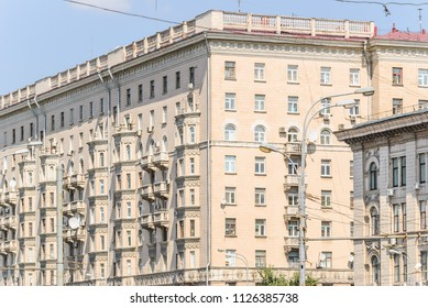 Fragment of ten-storey brick residential apartment house on Prospekt Mira was Built in 1959. Moscow, Russia