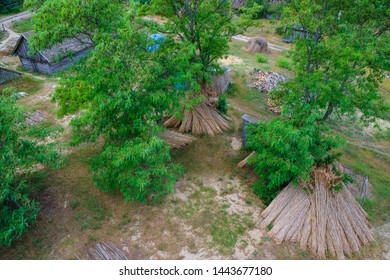 A fragment from the top of the disappearing village of Svalovichi in Ukraine. Hut with a reed roof and a sheaf of dry cane under the trees. Ukrainian tourism.