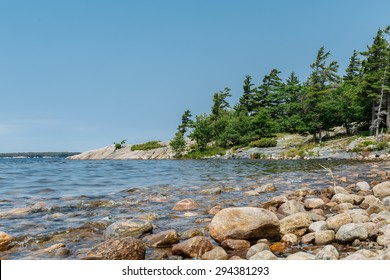 fragment of view of gorgeous amazing inviting northern Canadian kill- bear park at lake Huron