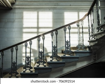 Beau Fragment Of Vintage Metal Fence Of Internal Staircase. Ornate Handrail Of  Wrought Iron. Stone