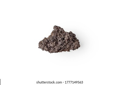 Fragment of volcanic lava stone or volcanic pumice with pores on a white background. Solidified lava volcano Agung Bali Indonesia