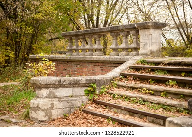 Fragment of the Vorontsov-Dashkova Manor. The village of Bykovo, Ramensky District, Moscow Region,Russia. Old architecture. Brick building. Autumn view