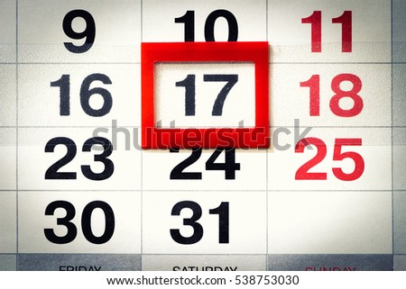 Fragment Wall Calendar Red Mobile Frame Stock Photo (Edit Now ...