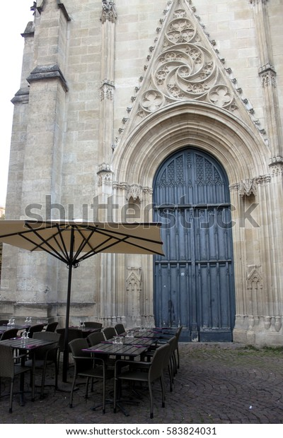 Fragment Wall Entrance Cathedral Church Portal Stock Photo