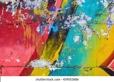 Fragment of a wall with graffiti. Abstract background
