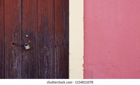 Fragment wall with old wood door detail