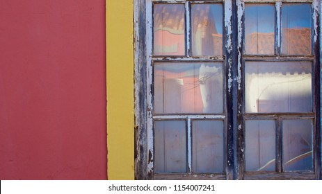 Fragment wall with old wood window detail