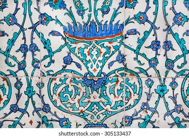 Fragment of the wall in Topkapi palace, ceramic tiles in Ottoman style, made in 16th century in Turkey