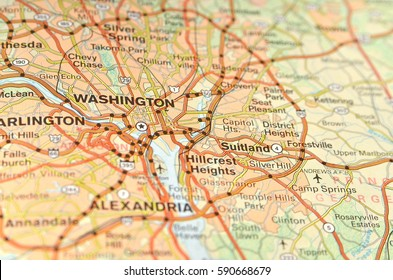 Fragment of Washington DC map, capital of USA. Selective focus