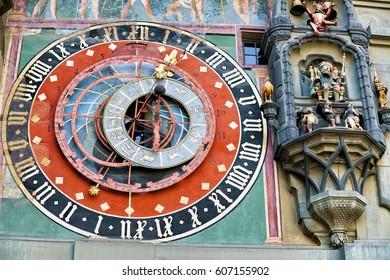 Fragment of Zytglogge clock in old city center of Bern, Switzerland