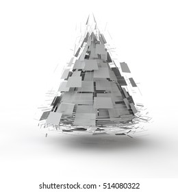 the fragments of the exploded cone, abstraction, 3D rendering