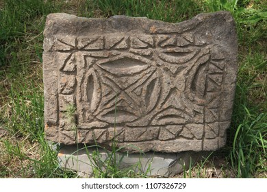Fragments of khachkars - Armenian tombstones in Armenia, Garni village, archaeological complex of ancient ionic temple
