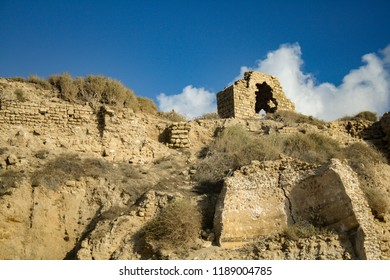 fragments of an old fortress on a rock, Ashkelon Israel